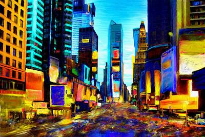 Traffic Light Mixed Media - Times Square by Andrea Meyer