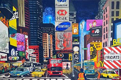 Yellow Cab Mixed Media - Times Square by Autumn Leaves Art