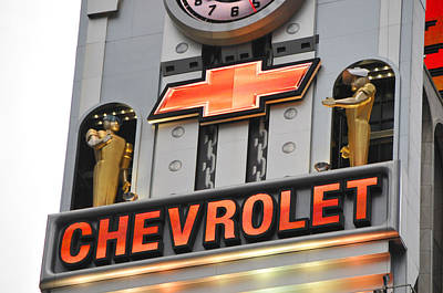 Photograph - Times Square Chevrolet Sign by Mike Martin