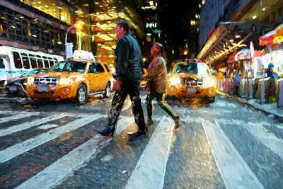 Digital Art - Times Square Crossing by Matthew Ashton