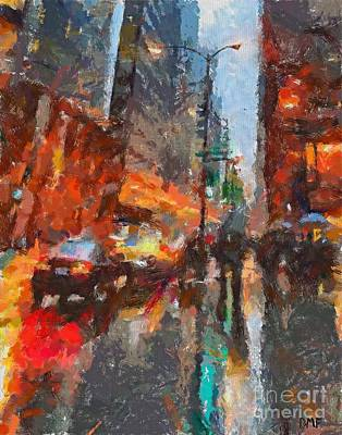 Oil Painting - Times Square by Dragica  Micki Fortuna