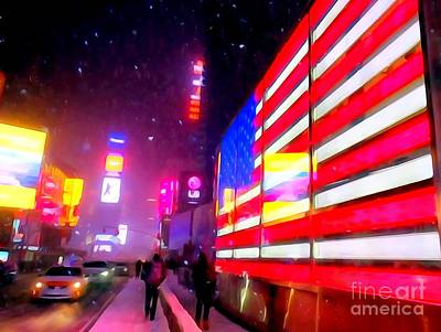 Digital Art - Times Square Flag In Snowstorm by Ed Weidman