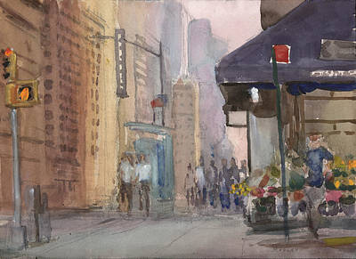 Times Square From 58th Street Original by Walter Lynn Mosley