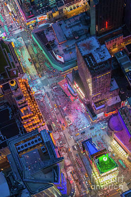 New York Signs Photograph - Times Square From Above by Inge Johnsson
