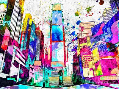 New York City Skyline Mixed Media - Times Square Grunge by Daniel Janda