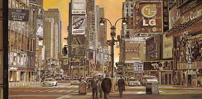 Comedian Drawings - Times Square by Guido Borelli