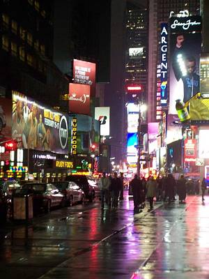 Photograph - Times Square In The Rain 1 by Anita Burgermeister