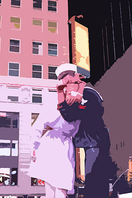 Times Square Digital Art - Times Square Lovers by Alex Antoine
