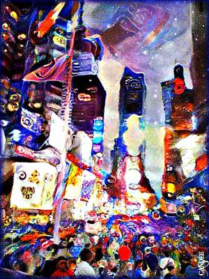 Nyc Mixed Media - Times Square Night by Candee Lucas