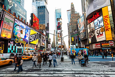 Crosswalk Photograph - Times Square, New York City by Voisin/Phanie