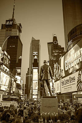 Photograph - Times Square Ny Overlooking The Square Sepia by Toby McGuire