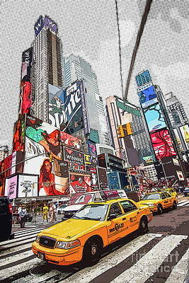Central Park Drawing - Times Square Pop Art by Delphimages Photo Creations