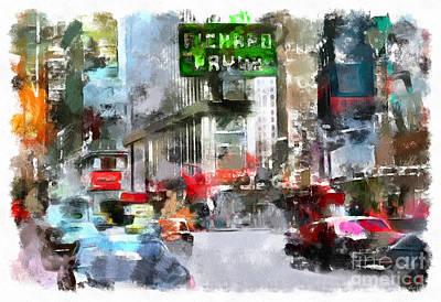 Drawing - Times Square by Sergey Lukashin