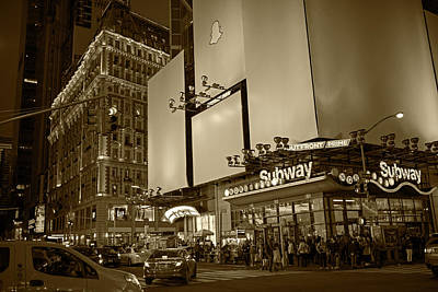 Photograph - Times Square Subway Stop At Night New York Ny Sepia by Toby McGuire