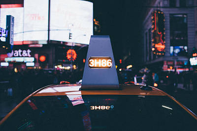 Photograph - Times Square Taxi by Christopher Villandry