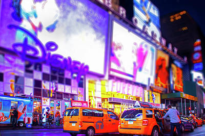 Times Square Photograph - Times Square Taxi by Mark Andrew Thomas