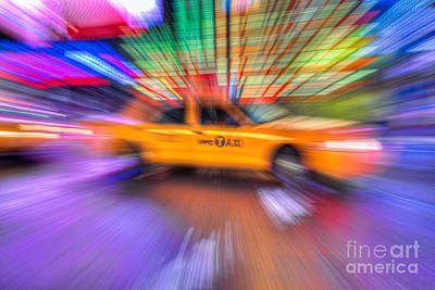 Times Square Photograph - Times Square Taxi V by Clarence Holmes
