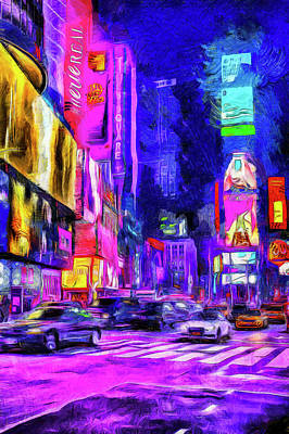 Photograph - Times Square Van Gogh Art by David Pyatt
