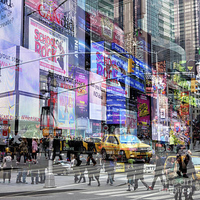 Photograph - Times Square Walk Double Exposure by John Rizzuto