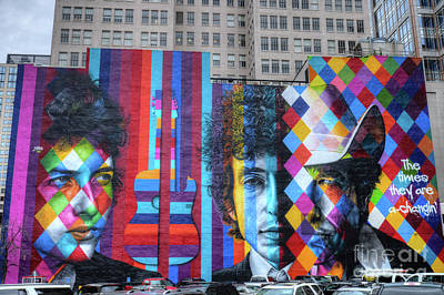 Bob Dylan Photograph - Times They Are A Changing Giant Bob Dylan Mural Minneapolis Fine Art by Wayne Moran