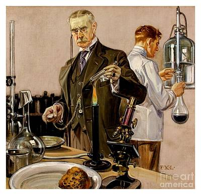 Painting - Timing An Experiment Frank Leyendecker 1910 by Peter Gumaer Ogden