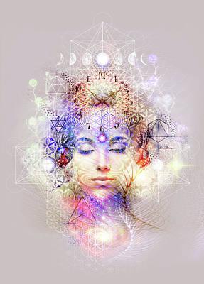 Spiritual Portrait Of Woman Digital Art - Timing by Misprint