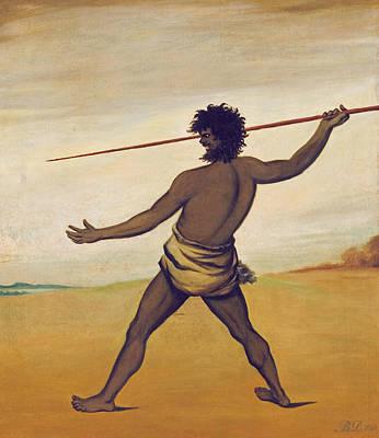 Aborigine Painting - Timmy, A Tasmanian Aboriginal, Throwing A Spear by Benjamin Duterrau