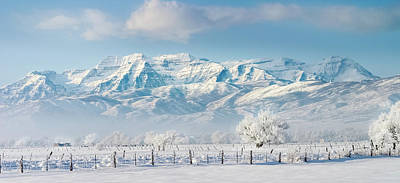 Wooden Fence Post Photograph - Timp In Winter Pano by TL Mair