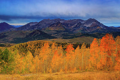 Art Print featuring the photograph Timpanogos With Golden Aspens. by Johnny Adolphson