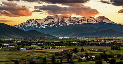Heber Springs Photograph - Timpanogos With Sunset Clouds by TL Mair