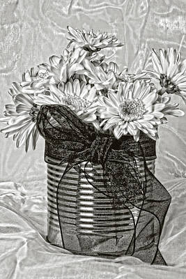Photograph - Tin Can Daisies  by Sandra Foster