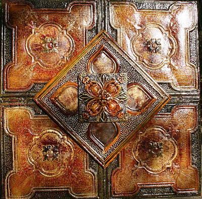 Kenny Hoff Painting - Tin Ceiling Tiles Dogwood Eye by Kenny The Tin Man Hoff