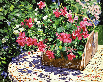Painting - Tin Flower Box On Wicker Table by David Lloyd Glover