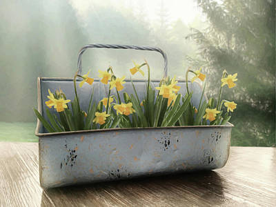 Photograph - Tin Of Daffodils by Lori Deiter