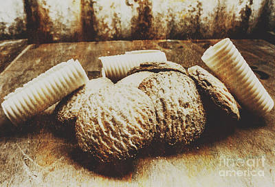 Butter Photograph - Tin Sign Baked Butter Biscuits by Jorgo Photography - Wall Art Gallery