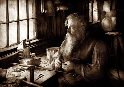 Tin Smith - Making Toys For Children - Sepia Print by Mike Savad