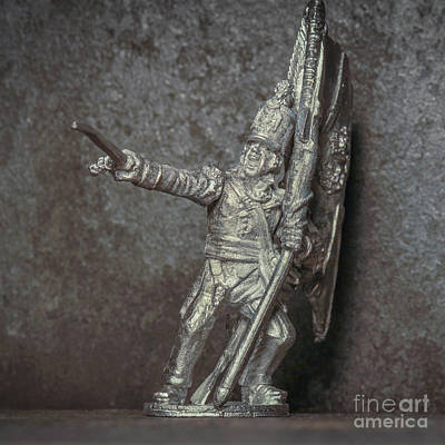 Realistic Miniatures Photograph - Tin Soldier With Flag by Randy Steele