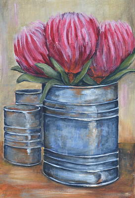 South African Artist Painting - Tin With Pink Proteas by Kareni Bester