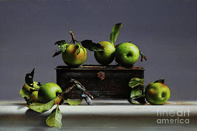 Painting - Tin With Wild Apples by Larry Preston