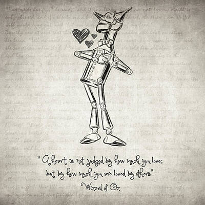 Drawing - Tin Woodman - Wizard Of Oz Quote by Taylan Apukovska
