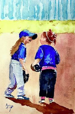 Little League Painting - Tina And Gertie by Anthony Zecca