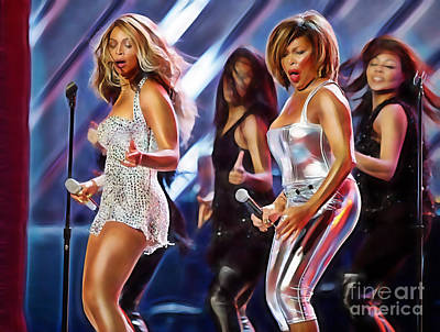 Soul Mixed Media - Tina Turner And Beyonce Collection by Marvin Blaine