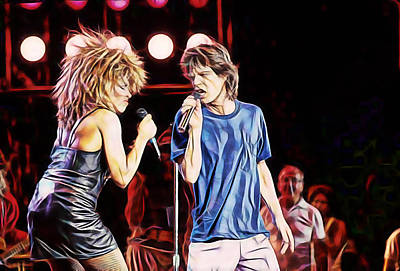 Tina Turner And Mick Jagger Collection Art Print by Marvin Blaine