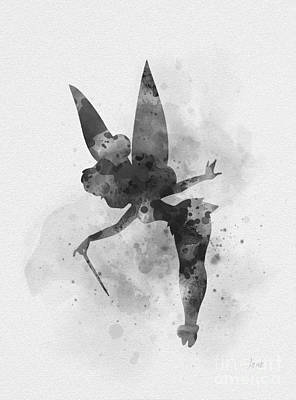 Mixed Media - Tinker Bell Black And White by Rebecca Jenkins