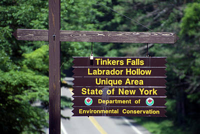 Tinkered Mixed Media - Tinkers Falls Labrador Hollow New York Signage by Thomas Woolworth