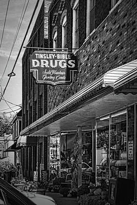 Photograph - Tinsley Bible Drugs Sign Black And White by Sharon Popek