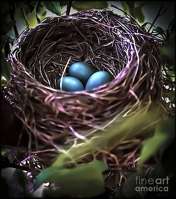Painting - Tiny Blue Bird Eggs In Nest by Walt Foegelle