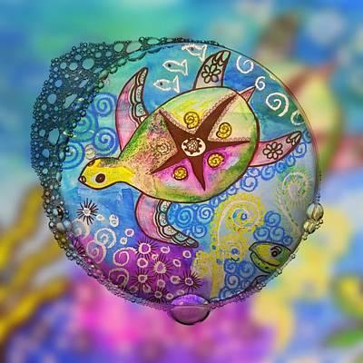 Digital Art - Tiny Bubble Turtle by Vijay Sharon Govender