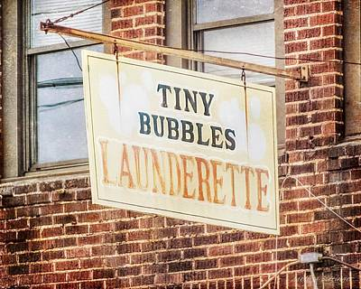 Tiny Bubbles Launderette, Old Fashioned Signage Art Print by Melissa Bittinger