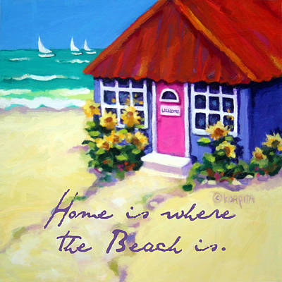 Painting - Tiny Cottage By The Sea - Beach Quote by Rebecca Korpita